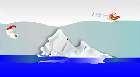 An illustration of an iceberg drifting down from up north, with a Santa moon and Santa being pulled by 4 Penguins, and dropping gifts along the way...