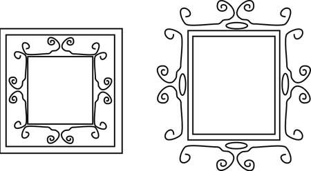 Curves, and swirls form a delicate line frame, Victorian style.. wrought iron..