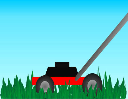 push mower: A hand lawn mower cutting thick, luscious, green, grass.. Illustration