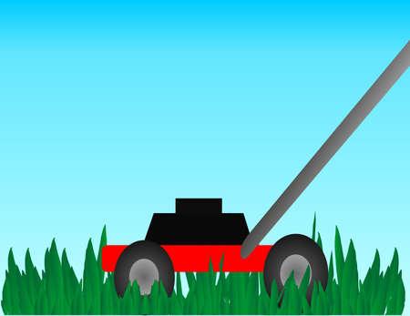 grass blades: A hand lawn mower cutting thick, luscious, green, grass.. Illustration