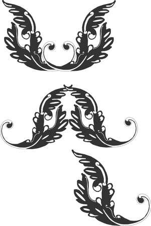 Sierlijke groepering van Victoriaanse schuif willen ontwerpen.  Stock Illustratie