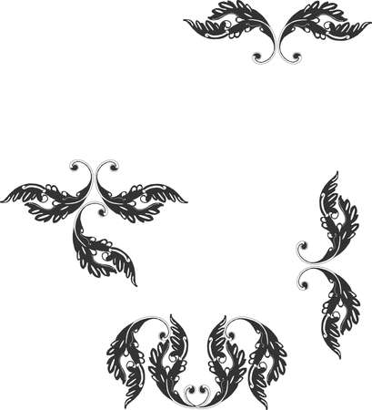 scroll border: Ornate grouping of Victorian scroll like designs in gray..... Illustration