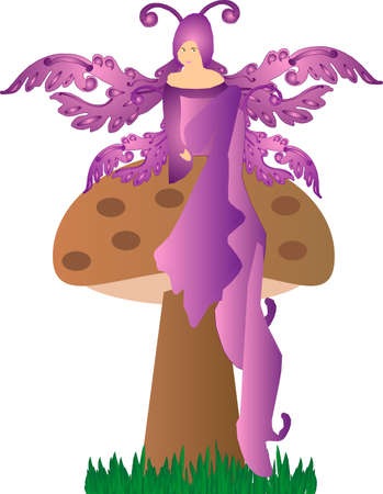 A purple fairy, sitting on a toadstool daydreaming..