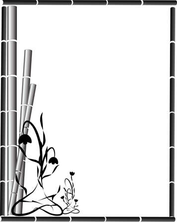 Bamboo and ornate flowers creating a beautiful background,  stationary design or for other uses..