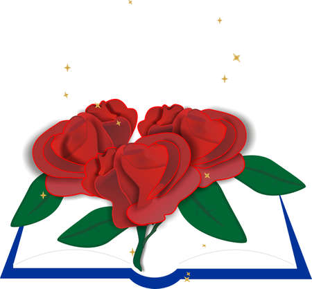 Book with roses laying across the pages, representing those that are loved here and the ones we lost..