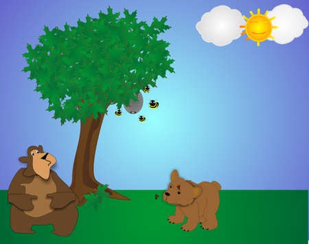 2 bears in park, one looking at hive thinking of honey and the other curious about the butterflies.. Vector