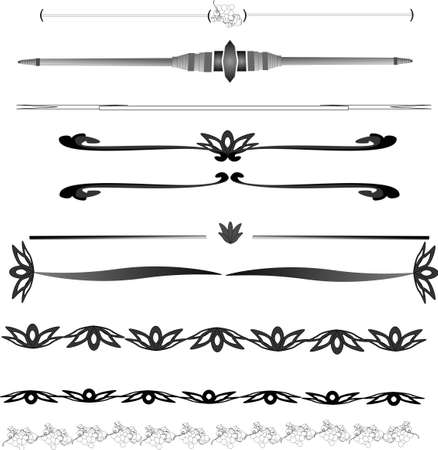 A great  selection of decorative lines and rules. Taking from any line and adding it to another, the variations are endless. These styles are easily edited for size and colour.  Illustration