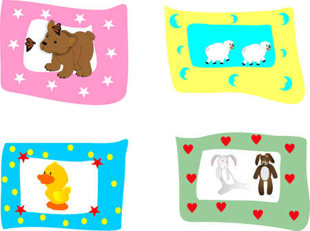grouping of children's animal pictures, great for scrapbooking, ads and so on.....  Great for any anything that involves children... Stock Vector - 4449884