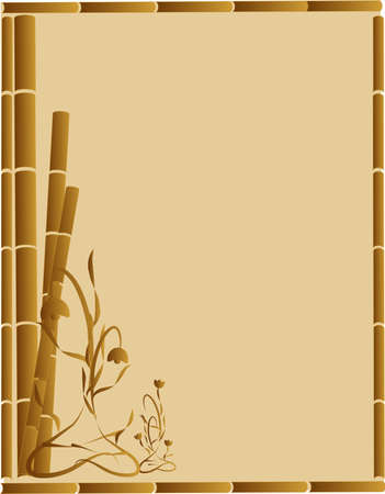 Brown Bamboo and ornate flowers creating a beautiful background,  stationary design or for other uses..