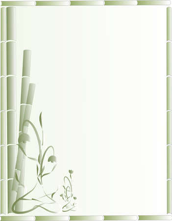 Green Bamboo and ornate flowers creating a beautiful background,  stationary design or for other uses..