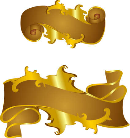 two Victorian style  decorative banner scrolls in gold and bronze... for titles, diplomas, and more... Иллюстрация