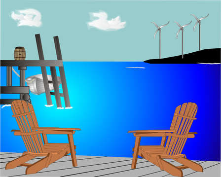Two Adirondack chairs sitting on the deck, watching the windpower farm, create electricity for the area.. going green..renewable resources Vector