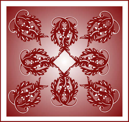 Beautiful burgundy tile in an ornate floral  seamless, pattern...