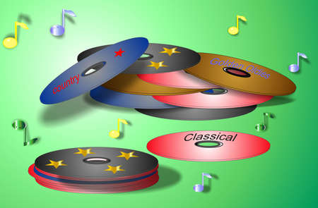 CD and DVD for listening and viewing pleasures... Illustration