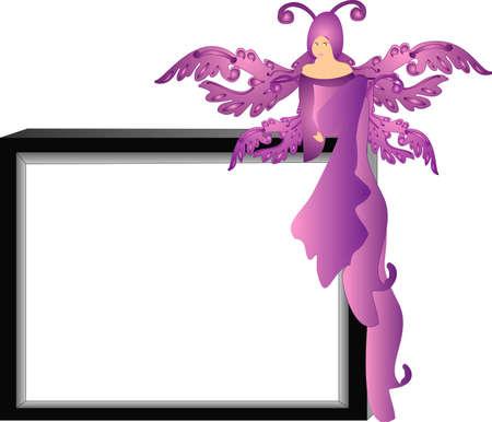 awaiting: Purple hada sentada en el borde de un tabl�n de mensajes, a la espera de mensaje y las notas .. Vectores