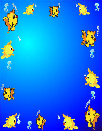 Exotic fish swimming around with air bubbles and a few seahorse, surrounding the outside.. Vector