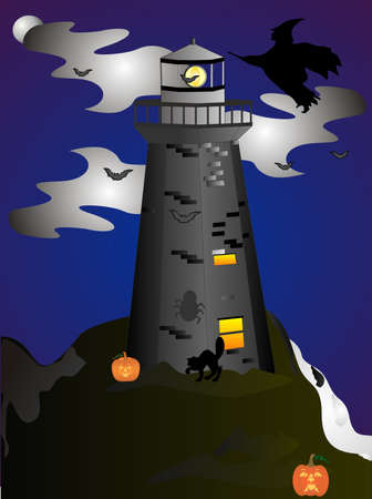 A clip art illustration of Halloween night, when THEY all come out at the Lighthouse.........   Vector