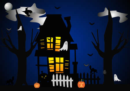 A clip art illustration of Halloween night, when THEY all come out at the house....Beware..