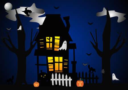 Een clip art illustratie van Halloween nacht, wanneer ze komen allemaal uit in het huis .... Beware .. Stockfoto - 4484157