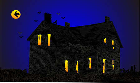 Trick or treat a scary house , on Halloween, bats, cats and the witch come out to play...  BEWARE of the night... Stock Vector - 4484163