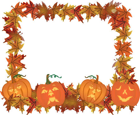 Fall leaves and  carved pumpkins forming a frame for your text, in a colourful illustration.. Vector