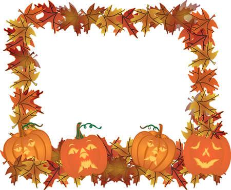 carve: Oto�o de hojas y calabazas talladas que forman un marco para su texto, en una colorida ilustraci�n ..
