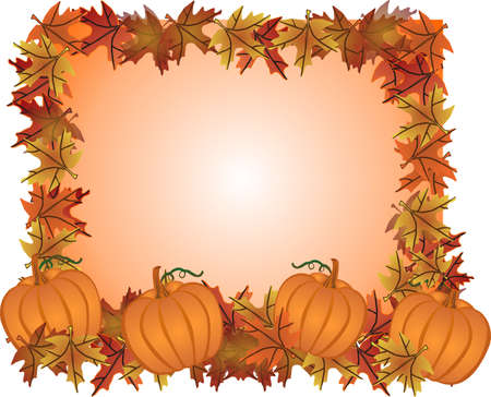 Fall leaves and pumpkins forming a frame for your text, in a colourful illustration.. Иллюстрация