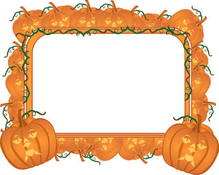 carved pumpkins in a frame for your text... Иллюстрация