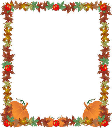 Fall leaves, apples and pumpkins , creating a great frame, border... to add your text to.. Vettoriali