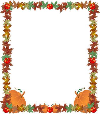 Opadają liście, jabłka i dynie, stworzenie korzystnych ram, granicy ... aby dodać swój tekst ..