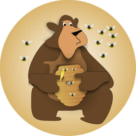 Bear holding honey pot, eating it, as bees try to protect beehive Illustration