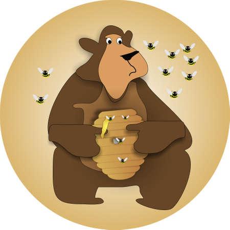 pot miel: Bear exploitation pot de miel, de manger, comme les abeilles essayer de prot�ger la ruche Illustration Illustration