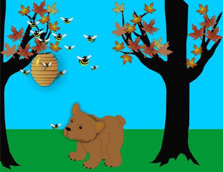 honeybee: Bear looking at beehive wondering how to get some honey to eat...