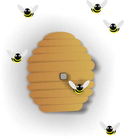 hive: Colmena de abejas con numerosas abejas pululando alrededor de la protecci�n de su miel ..