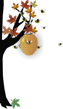 Beehive on tree, with bees swarming the hive.. protecting it Vector