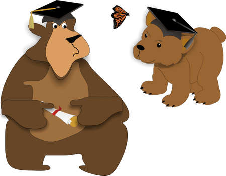 Bear facts on graduating, the young and the old.. Life begins today.. go forward as you have only just begun.. Congratulations.. wishing you happiness and prosperity.. Vector