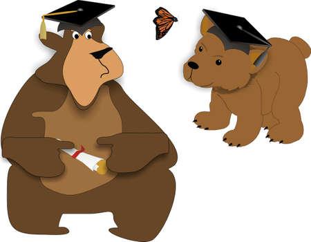 Bear feiten afstuderen, jong en oud .. Het leven begint vandaag .. gaan als u nog maar net begonnen .. Gefeliciteerd .. wenst u geluk en voorspoed .. Stockfoto - 4503593