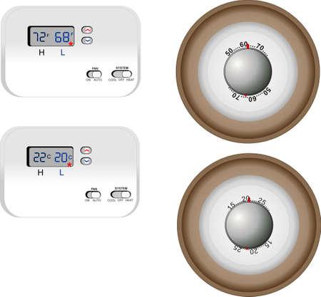 Illustratie van een digitale en analoge thermostaat, over vermindering van het energiegebruik in huis verwarming in zowel Celsius en Fahrenheit lezingen ..