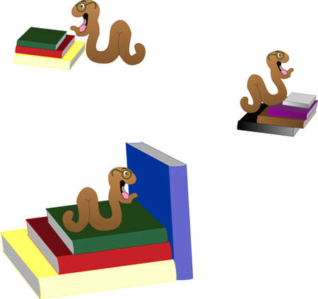 Bookworms all over the books that educate them in life... Vector