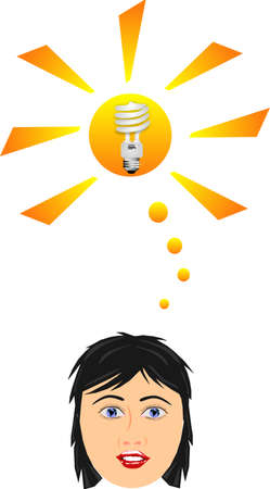 Thinking of the new  CFL eco green light bulbs and their savings in many ways... Vector