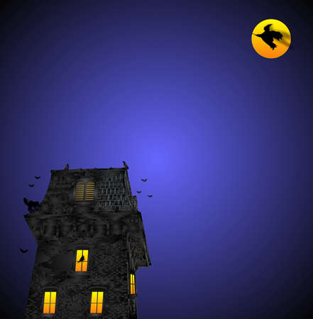 hallowed: One hallowed eve, the crows and blackbirds were flying around the old haunted firehall, while the witch flew over head...