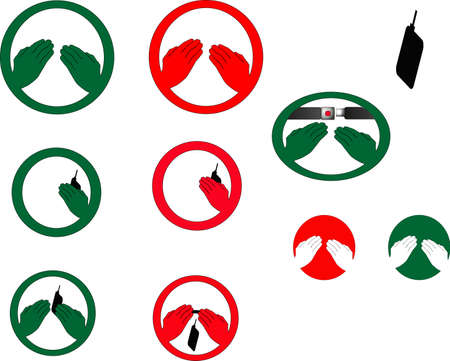 The graphic images, for hands free, and hands allowed, plus the graphical user interface of the seatbelts required.  All represent numerous usages of these universal symbols,  allowed and not allowed are symbolized in the red and green colors.. Vector