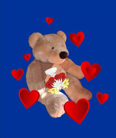 곰은 마음과 아름다운 꽃들로 둘러싸인 사랑 ...