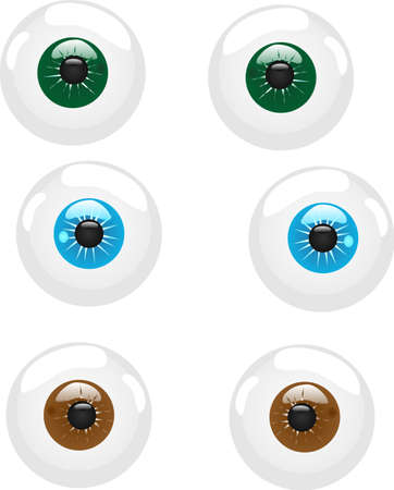 dilated pupils: 3 sets of eyeballs with different colored iris, can be  for icons, and various usages.....