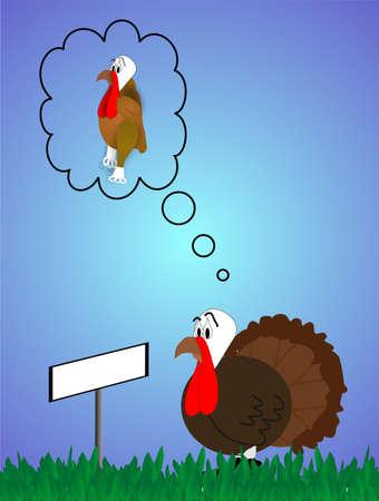 new thinking: Turchia guardando il segno in bianco, il pensiero del suo destino .. esso sospira e pensa ... Non mangiare me .. per favore ....