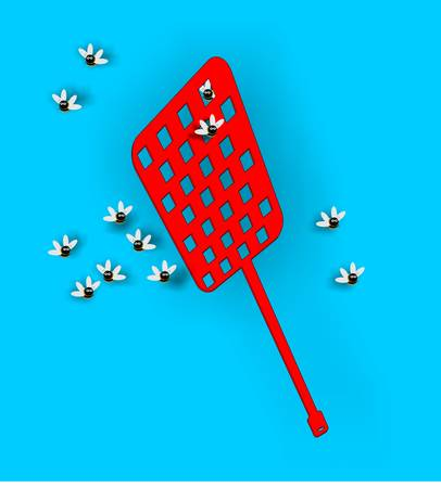 Fly swatter with some pesky flies around it.... Stock Vector - 4528557
