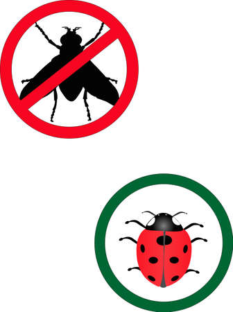 insecticide: No Flies allowed and Lady bugs allowed signs