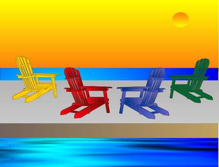 4 Adirondack stoelen wachten op mensen om te zitten en te ontspannen, het bekijken van de awesome hemel regel ...