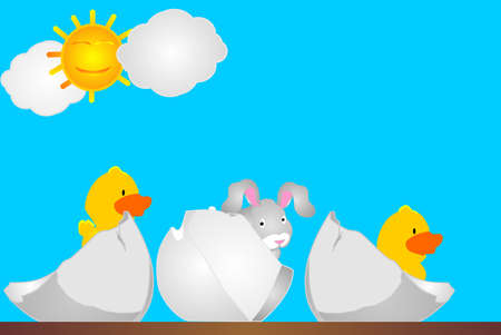 spoof: 3 eggs crackin with chicks, and a bunny hopping out...