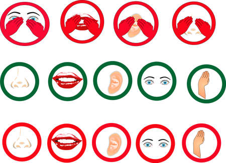 not painted: Symbols for see no , hear no, smell no, and speak no evil, with other signs of allowed and not permitted..  Many functional usages for these symbols..